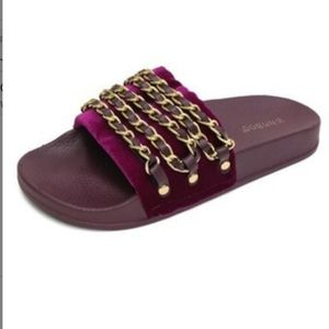 Fuschia Velvet Slides with Gold Chain detail